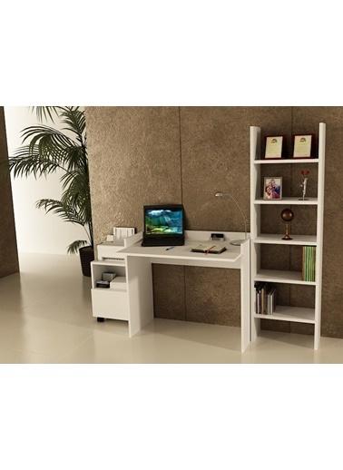 Sanal Mobilya Sirius Dolaplı Kitaplıklı Çalışma Masası 90-Gk-4A Beyaz